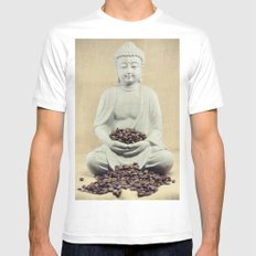 Coffee beans Buddha 3 SMALL Mens Fitted Tee White