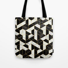 Black and White Marble Hexagonal Pattern Tote Bag