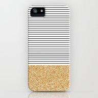 Minimal Gold Glitter Str… iPhone (5, 5s) Slim Case