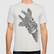 Zentangle Giraffe Mens Fitted Tee Silver SMALL