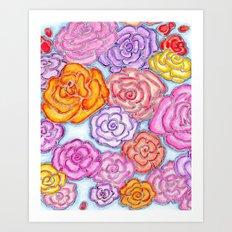 Multi-Colored Roses on Blue Art Print