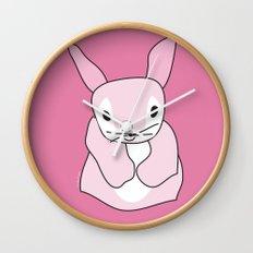 Pink Bunny Rabbit Wall Clock