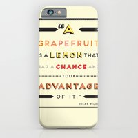 iPhone & iPod Case featuring Oscar Wilde: A grapefruit is a lemon that had a chance and took advantage of it. by Joe Pugilist Design