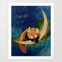 Red Panda Moon Art Print