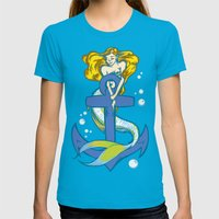 Anchored Womens Fitted Tee Teal SMALL