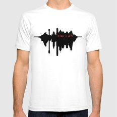 Dallas City Skyline SMALL White Mens Fitted Tee