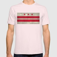 Washington D.C flag with worn stone marbled patina Mens Fitted Tee Light Pink SMALL