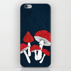 Red mushrooms field on navy blue iPhone & iPod Skin