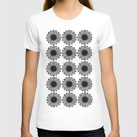 Vintage Flower_Black Womens Fitted Tee White SMALL