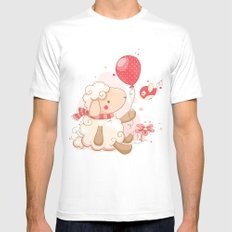 Sheep & Balloon Mens Fitted Tee White SMALL