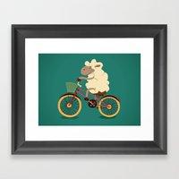 Lamb on the bike Framed Art Print