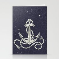 Navy Blue Nautical White Anchor for Sailor Texture Stationery Cards