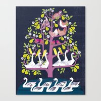 7 Days of Christmas or ∑ summation of holiday birds Canvas Print
