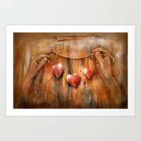 hearts Art Prints featuring Hearts ! by teddynash