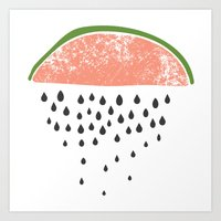 Watermelon raining seeds. Art Print