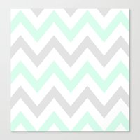 WASHED OUT CHEVRON (MINT… Canvas Print