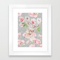 Deer Head & Magnolia's  Framed Art Print