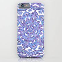 iPhone Cases featuring Lilac Spring Mandala - floral doodle pattern in purple & white by micklyn