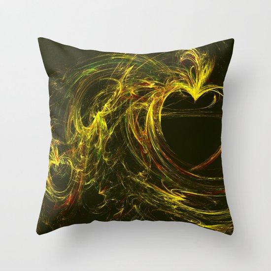 Golden Heart Throw Pillow
