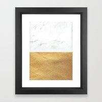 Color Blocked Gold & Mar… Framed Art Print