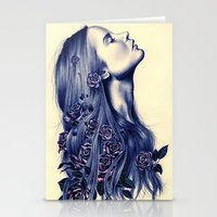 portrait Stationery Cards featuring Bloom by KatePowellArt