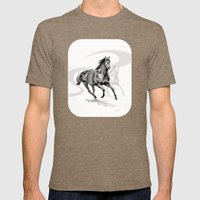Master Hand (USA) Thoroughbred Stallion Mens Fitted Tee Tri-Coffee SMALL