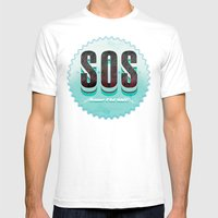 S O S Mens Fitted Tee White SMALL