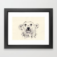 Polar Bear Smiling Black… Framed Art Print