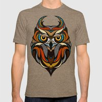 Oldschool Owl Mens Fitted Tee Tri-Coffee SMALL