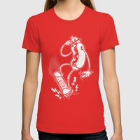 Skate or Dog Womens Fitted Tee Red SMALL