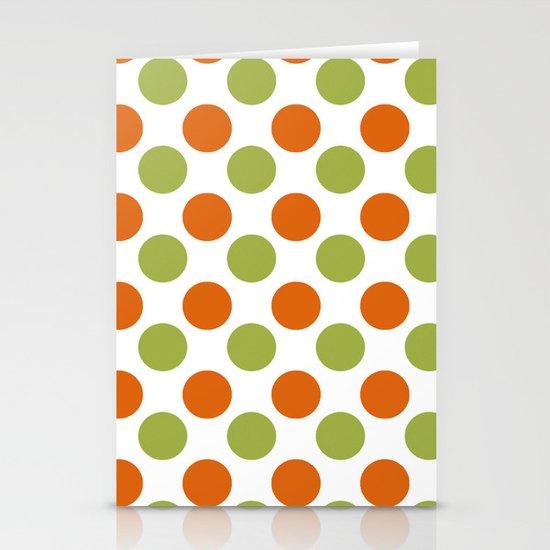 Green Orange Dots Stationery Card
