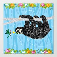 The Sloth And The Hummin… Canvas Print