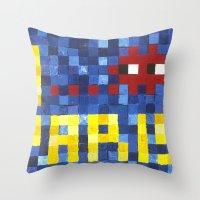 I Space Invader Paris Throw Pillow