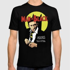 Man in Black Black Mens Fitted Tee SMALL