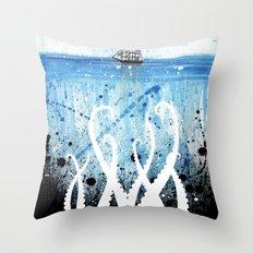 Kraken Watercolor Throw Pillow