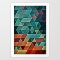 Teal/Orange Triangles Art Print