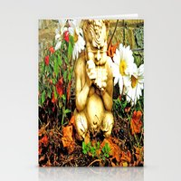 Mystical Flowers and Statue Stationery Cards
