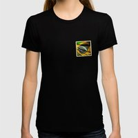 Sticker of Brazil flag Womens Fitted Tee Black SMALL