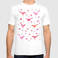 Birds and Blossoms SMALL Mens Fitted Tee White