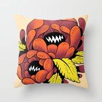 Grim Blossom Throw Pillow