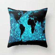 wOrld map Turquoise Sparkle  Throw Pillow