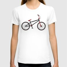 BMX Bike Womens Fitted Tee White SMALL
