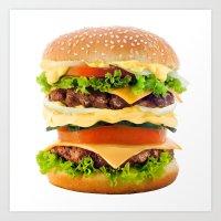Cheeseburger YUM Art Print
