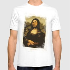 Ups! ( Mona Lisa - La Gioconda ) SMALL White Mens Fitted Tee
