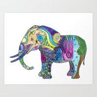 Elephant Profile Art Print