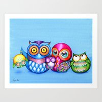 Crazy Owl Family  Art Print