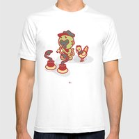 Snake Charmer Monkey Mens Fitted Tee White SMALL