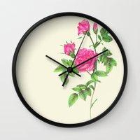 Ballpoint Pen, Redouté's Roses Wall Clock