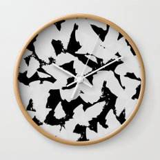 Black Bird Wings on Grey Wall Clock