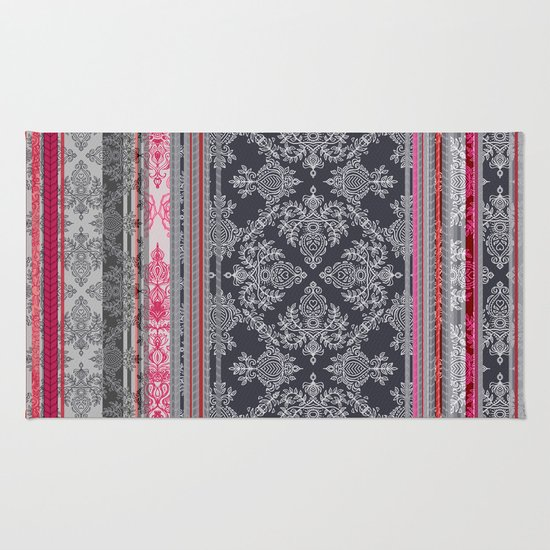 Burgundy, Pink, Navy & Grey Vintage Bohemian Wallpaper Rug